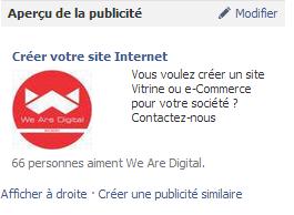 Facebook Ads - Exemple de publicité