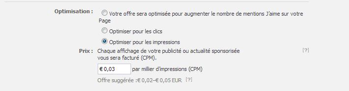 Facebook Ads - Tarification CPM