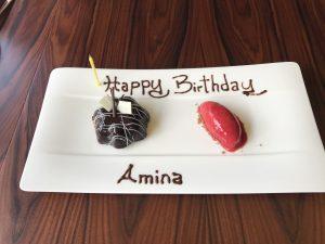 Mini Gâteau d'anniversaire Chocolat Pistache et Sorbet Framboise