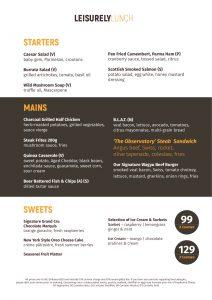 """Le menu """"Business Lunch"""" de The Observatory Dubai"""