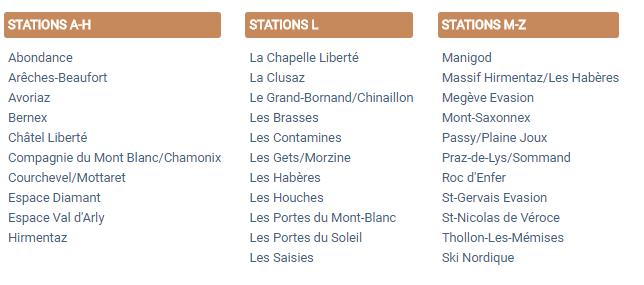 Carte GIA - Liste des stations de ski partenaires